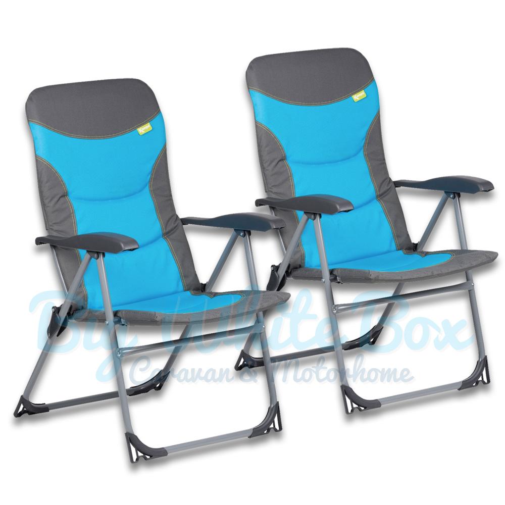 Kampa Skipper Reclining Chairs Blue Pair Big White Box