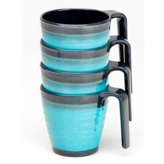 Flamefield Melamine Stacking Granite Aqua Mugs