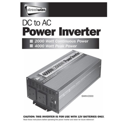 Streetwize DC to Ac Power Inverter 2000W SWINV2000